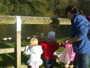 Image of children visiting the duck pond in Broadbottom